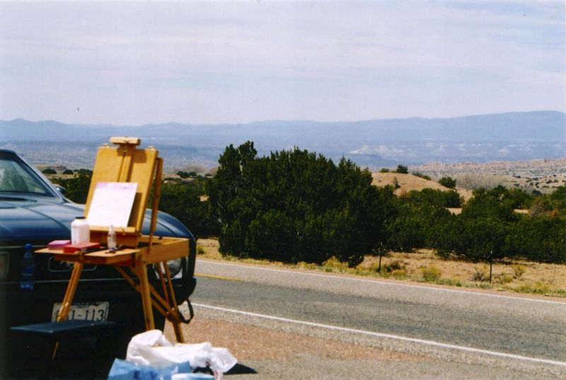 Painting at the side of the road. Road trip to Georgia O'Keefe Country...Abique, New Mexico
