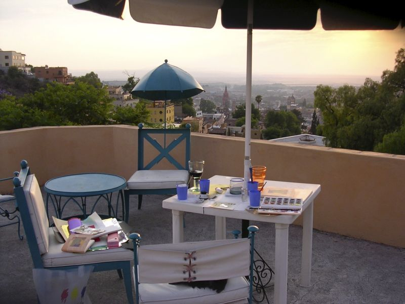 Painting while overlooking San Miguel d'Allende in the Mountains of Mexico