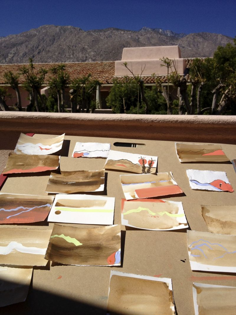 Painting out on the deck in the desert. Palm Springs. 2012