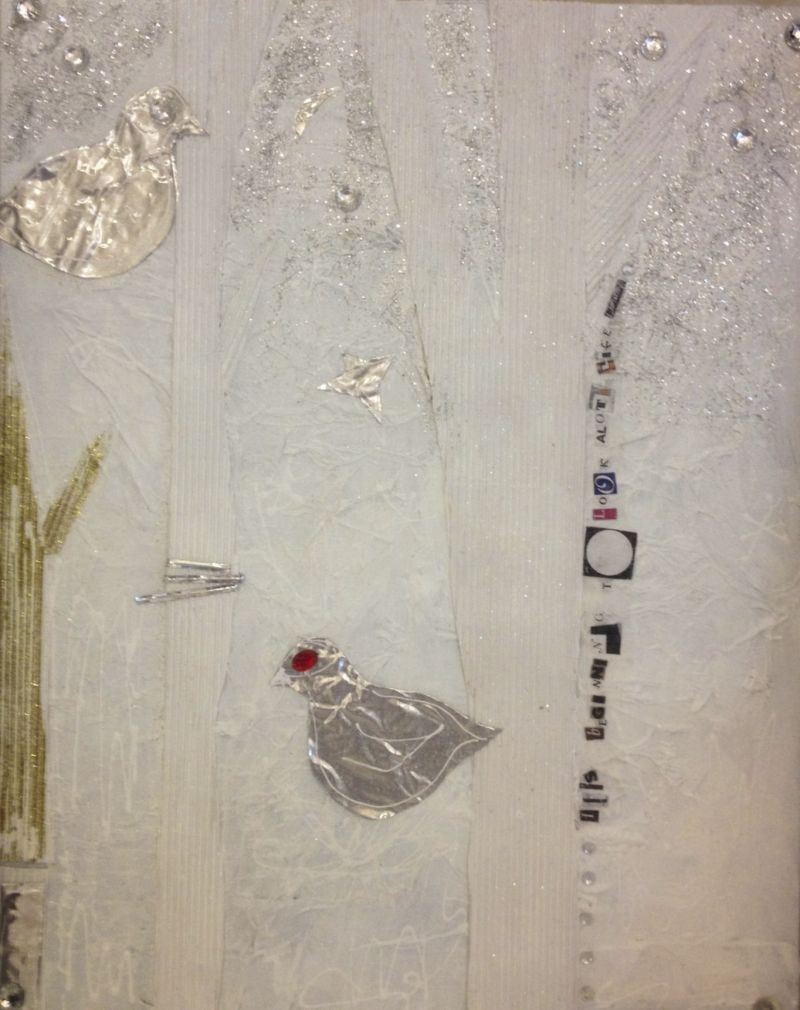 It's Beginning to Look a lot Like Christmas, Acrylic, cardboard, sparkles, gauze and jewels on canvas board, 16X20