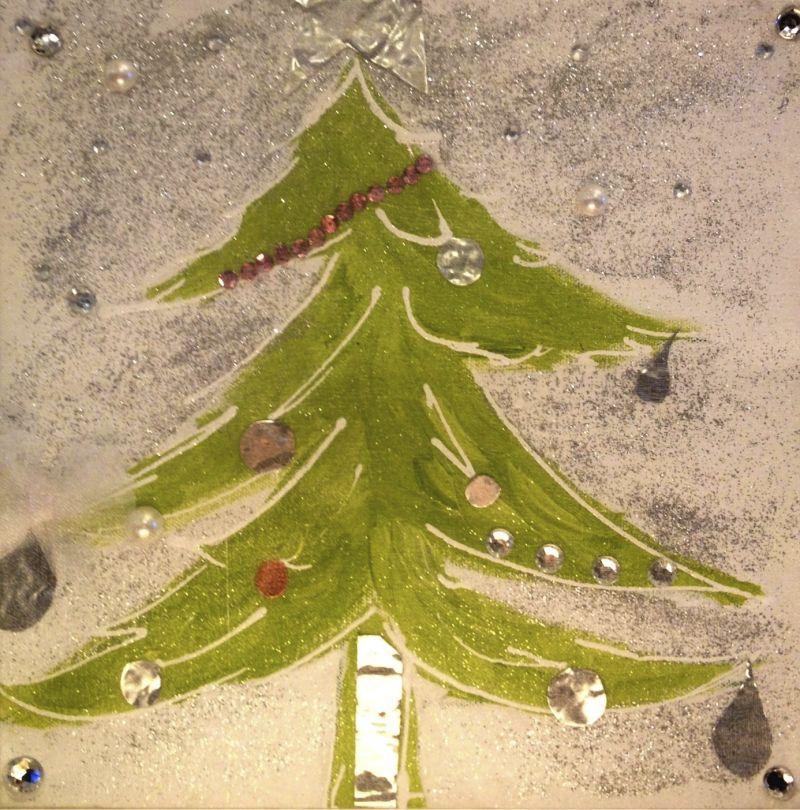 Oh Christmas Tree, acrylic, sparkles, tin, jewels and gauze on canvas, 10X10