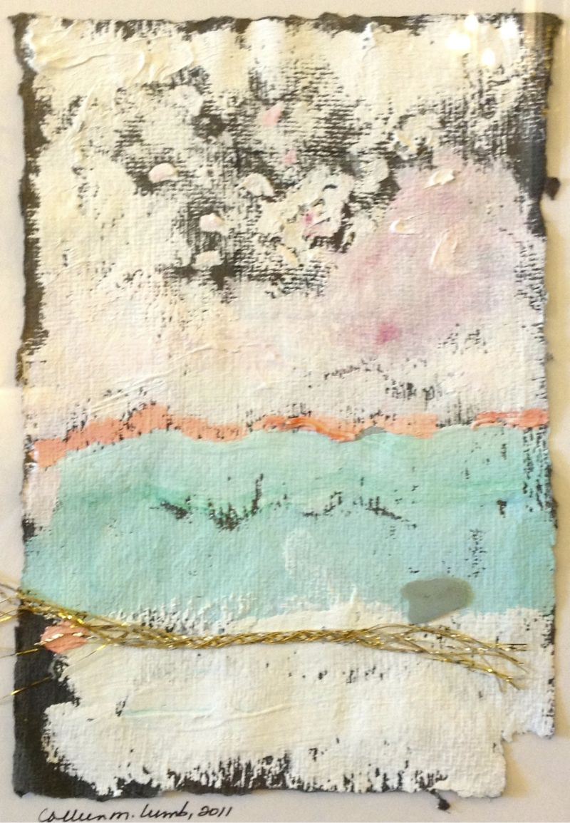 The Blue of Harbour Island, gouache, ribbon and beach pebble on black handmade paper, 10X12