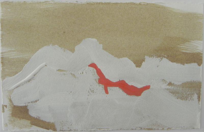Loving the Desert of Palm Springs, #2, gouache on handmade paper, 6X6€ framed and unframed