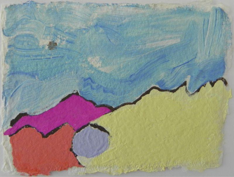 The Desert of Palm Springs Series, gouache on handmade paper, 6X6€ framed & unframed