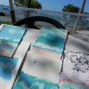 Painting on the steering wheel of my golf cart, while on Harbour Island in the Bahamas for the month of January, 2011